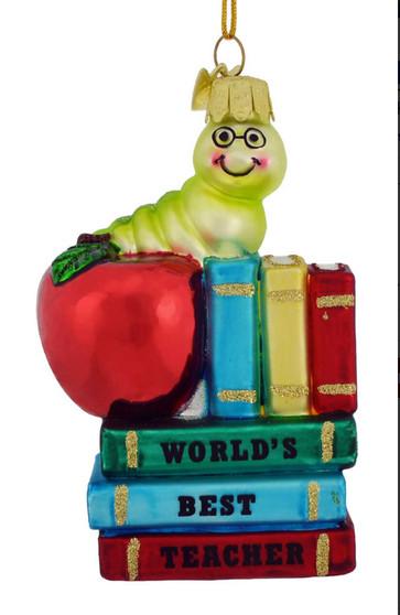 Bookworm Best Teacher Glass Ornament