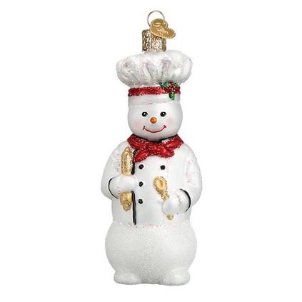 "Snowman Chef Glass Ornament, 4 1/2"", OWC# 24184"