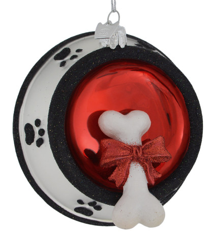 Dog Bone in Doggie Bowl Glass Ornament