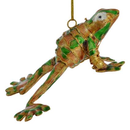 Cloisonne Frog Ornament - Golden