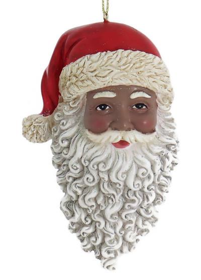 African American Santa Head Ornament