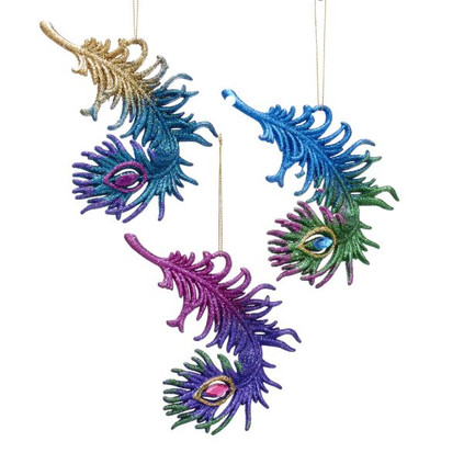 """Colorful Glittered Peacock Feather Ornament, 5 1/4"""", KAT2550"""