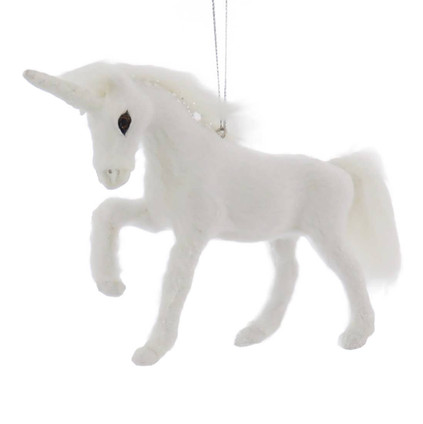 Furry White Unicorn Ornament