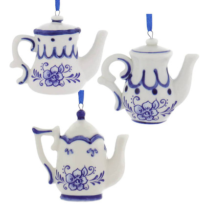 Set of 3 Delft Styled Blue and White Teapot Ornaments