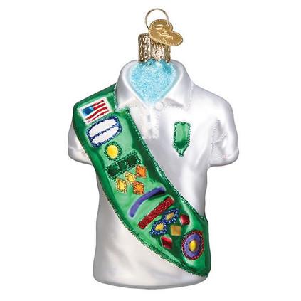 Girl Scout Uniform Glass Ornament Ornament