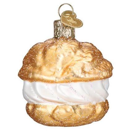 Cream Puff Glass Ornament Ornament