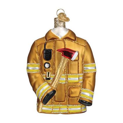Firefighter's Coat Glass Ornament Ornament