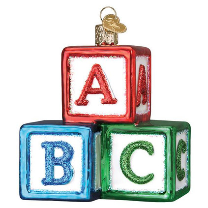 ABC Blocks Glass Ornament Ornament