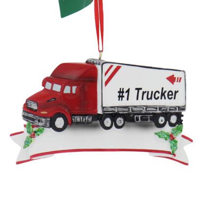 Personalizable #1 Semi Trucker Ornament