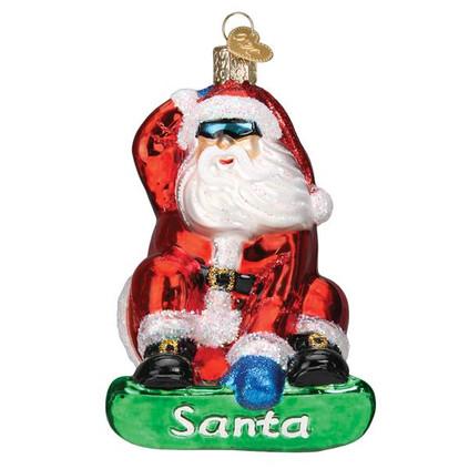 Snowboarding Santa Glass Ornament