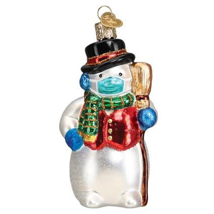 Snowman w/Mask Glass Ornament