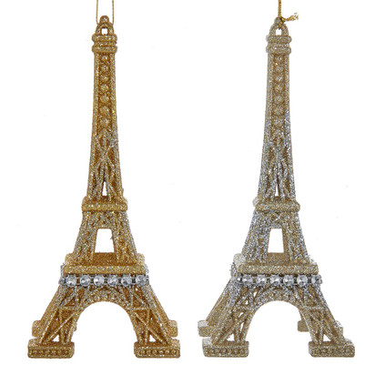 2 pc Gold and Silver Eiffel Tower Ornaments SET
