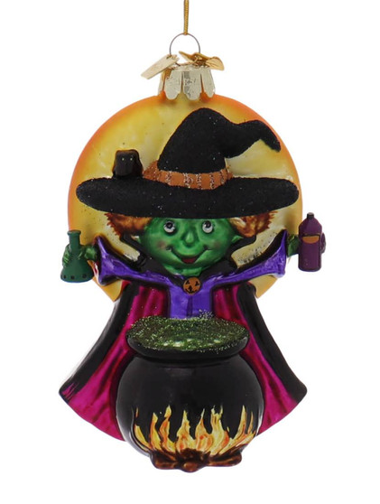 Green Witch Making Potion Glass Halloween Ornament