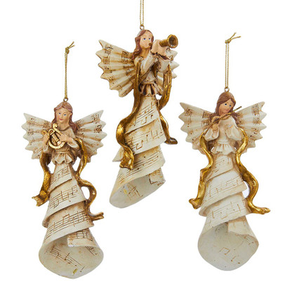 Music Sheet Angel with Instrument Ornament