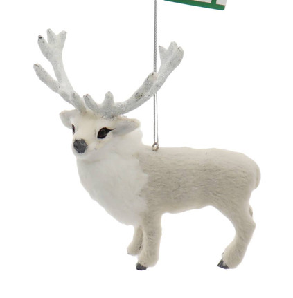 Majestic Furry White Reindeer Ornament