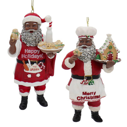 Bakery Chef African American Santa Ornament