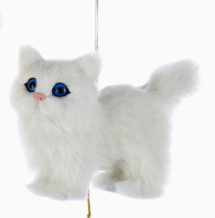 Plush Fuzzy Standing Solid White Cat Ornament