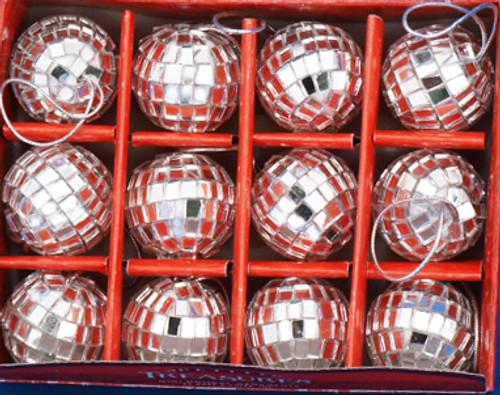 Mini Mirrored Disco Ball Ornaments 12 pc Set 1.25 inch