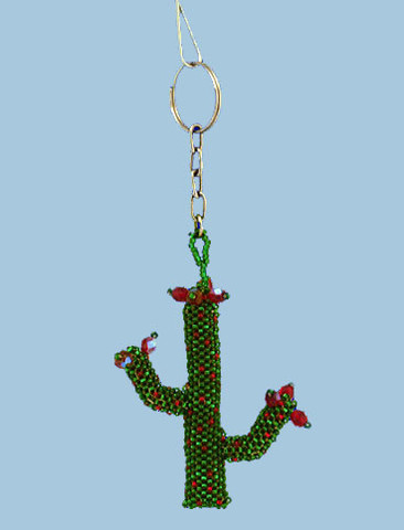 "Beaded Cactus Ornament or Key Chain, 2 3/4""  - Guatemala, #GUCO09"