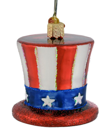 USA Uncle Sam Hat Glass Ornament by Old World Christmas 36206
