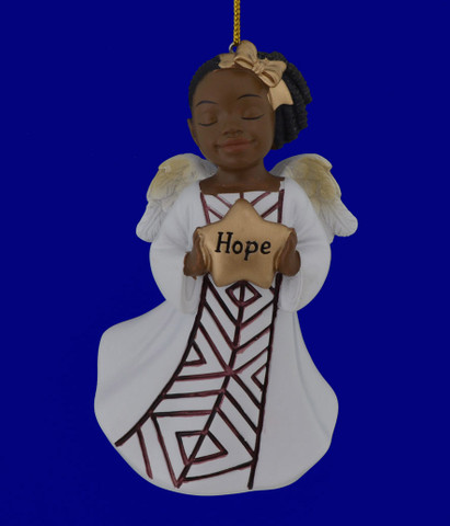 "African American Hope Girl Angel Ornament - Figurine, 4 1/8"", PG19062"