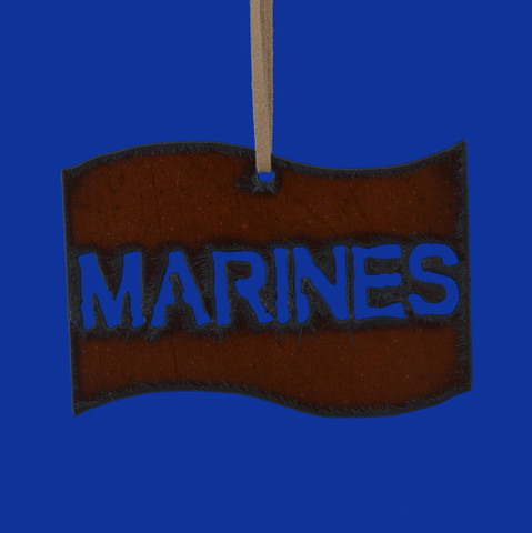 Rustic Cut Steel Marines Flag Ornament made in USA