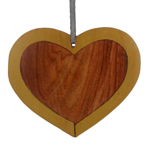 Heart Intarsia Wood Ornament