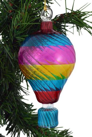 Rainbow Hot Air Balloon Mouth Blown Egyptian Glass Ornament