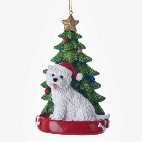 "West Highland Terrier with Christmas Tree Ornament, 4"", KAC7615WH"