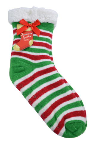 Super Thick Sherpa Lined Non-Slip Sock Slippers Ladies Stripes Medium