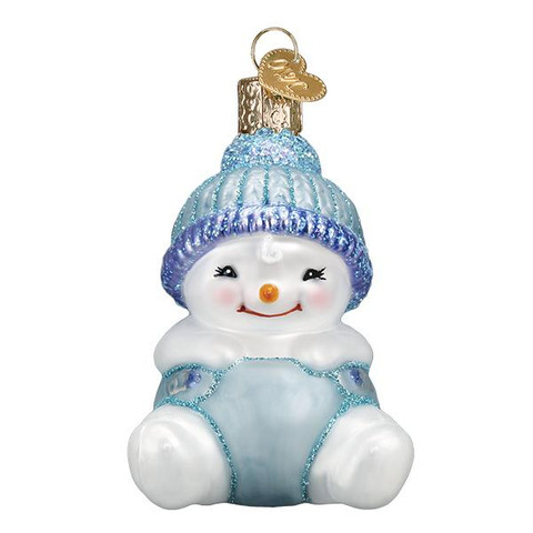 "Snow Baby Boy Glass Ornament, 3"", OWC# 24190"