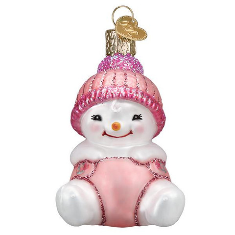 "Snow Baby Girl Glass Ornament, 3"", OWC# 24191"