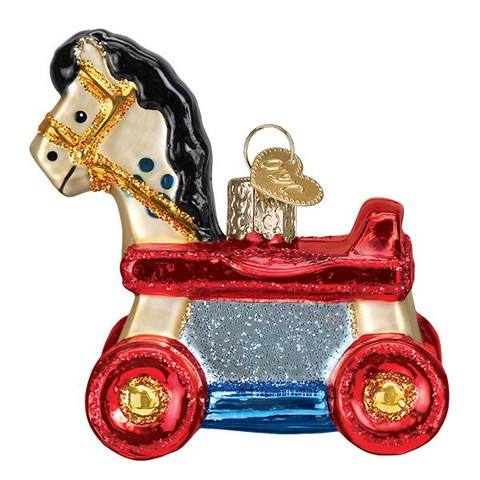 "Rolling Horse Toy Glass Ornament, 3"", OWC# 44131"