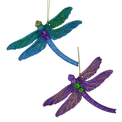 Glittered, Beaded Dragonfly Ornament