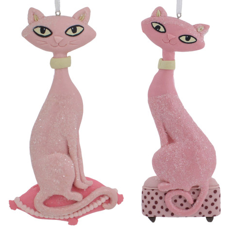Pink Sophisticated Cat Ornament