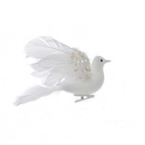 "Mid-size White Flocked Feather Dove Ornament, Decor, 6 1/4"", KAH6125"