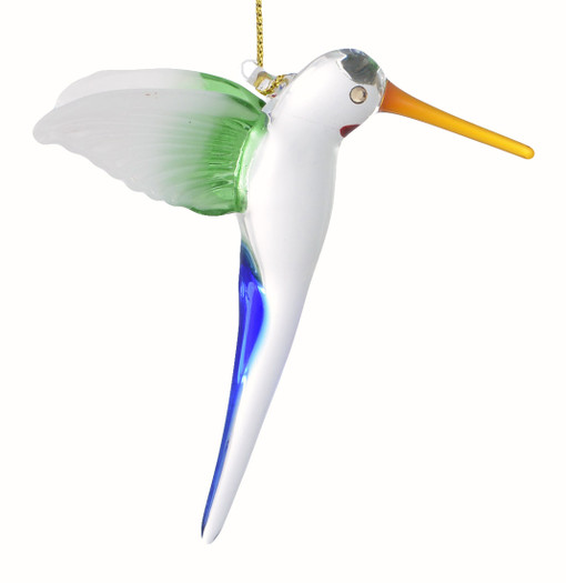 Long Tail Hummingbird Mouth-Blown Egyptian Glass Ornament  main