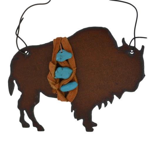 Rustic Cut Steel Buffalo Ornament embellished