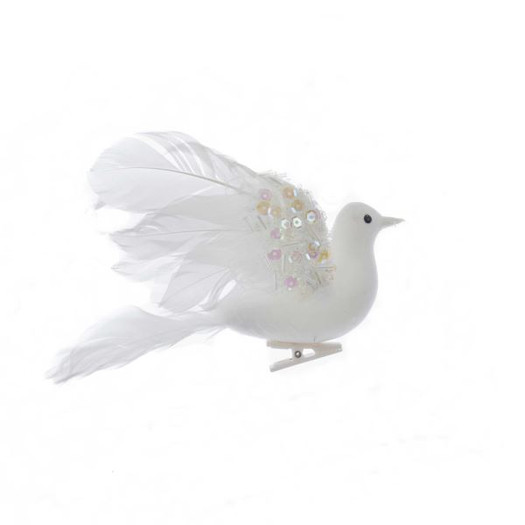 "Mid-size White Flocked Feather Dove Ornament, Decor, 6 1/4"", KAH6125"