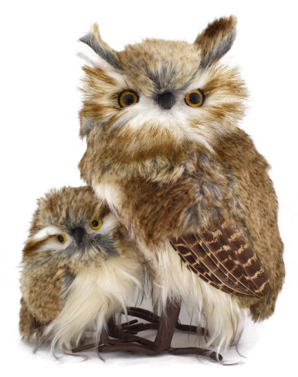Brown Furred Long-Eared Hoot Owl with Baby Owl Figurine