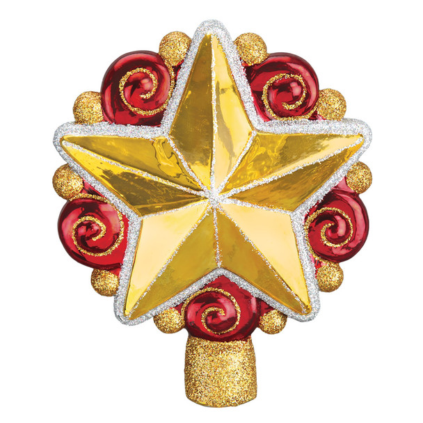 Swirly Star Tree Top Glass Ornament 50028 Old World Christmas
