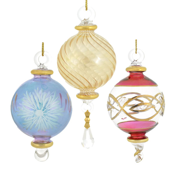 Small Round Mouth Blown Egyptian Glass Ornaments 3 Piece Set