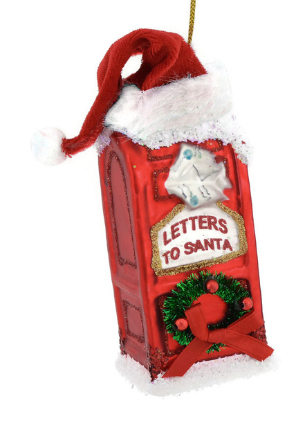 Letters to Santa Mailbox Glass Ornament d1588