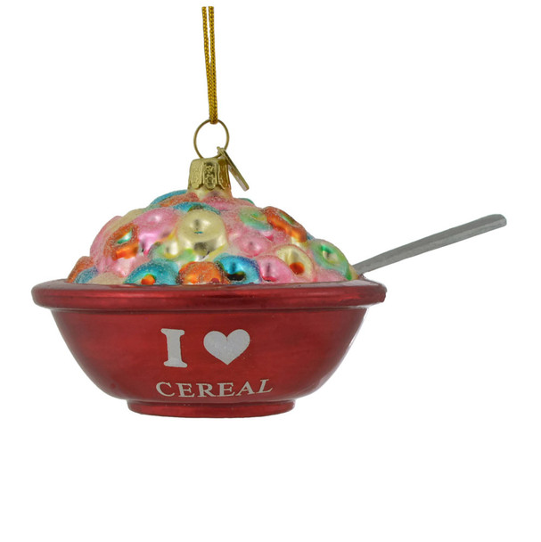 Bowl of Breakfast Cereal Glass Ornament