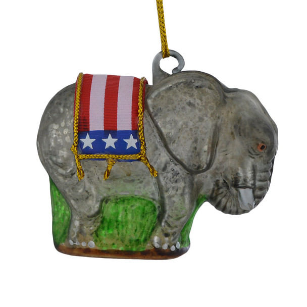 Political Republican Elephant Glass Ornament