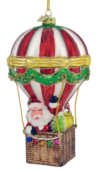 "Santa in Hot Air Balloon Glass Ornament, 6"", KANB1361"