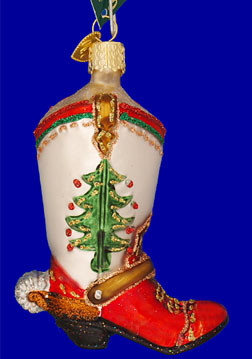 Christmas Cowboy Boot Glass Ornament By Old World Christmas