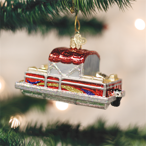 Pontoon Boat Glass Ornament By Old World Christmas