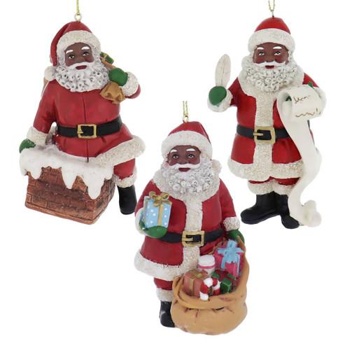 Black Santa ornament l African American Santa ornament dark l African American Christmas l Gold Santa hat l ethnic ornament