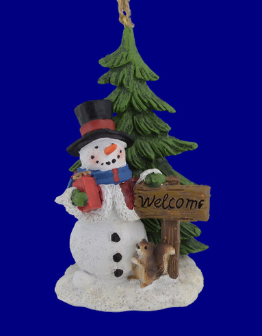 Woodland Snowman Scene Ornament Figurine